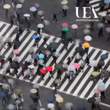 People with colourful umbrellas on a zebra crossing in the rain