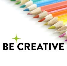 Be Creative logo with coloured pencils