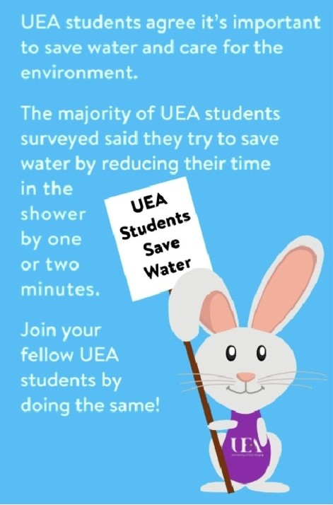 "Water-saving poster used in UEA halls: ""UEA students agree it's important to save water and care for the environment. The majority of UEA students surveyed said they try to save water by reducing their time in the shower by one or two munutes. Join your fellow UEA students by doing the same"""