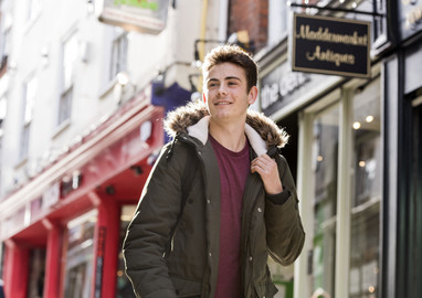 UEA Student walking through the Lanes in Norwich.