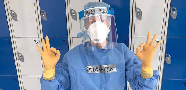 Alex Hunter wearing ppe and scrubs at London Nightingale Hospital