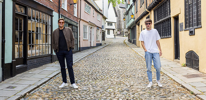 Coral eyewear George Bailey with Jake Humphrey on Elm Hill in Norwich city centre