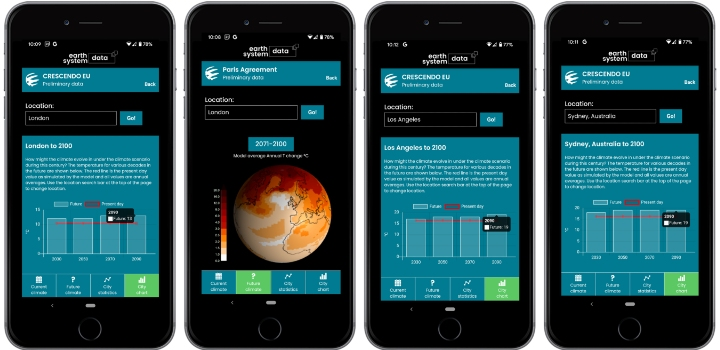 ESD research app in use on four different mobile phone screens