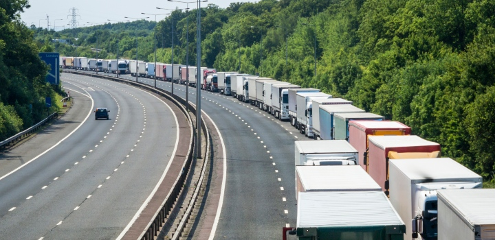 Lorries queued on the M20 motorway in Kent