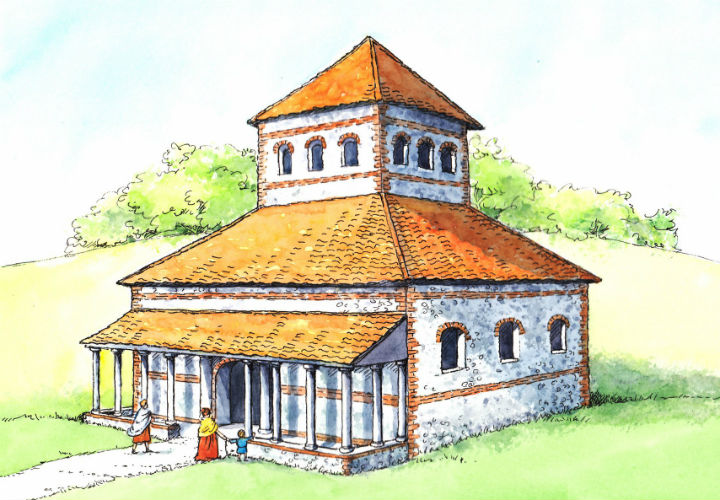 Reconstruction of the Roman Temple the Caistor team investigated