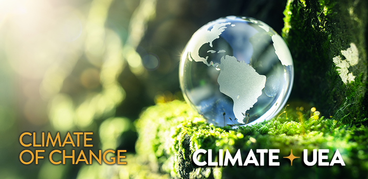 Globe with ClimateOfChange and ClimateUEA logos