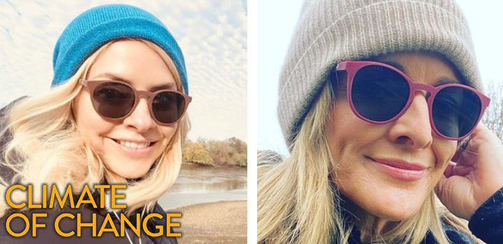 Photos of Holly Willoughby and Gabby Logan wearing Coral Eyewear sunglasses.