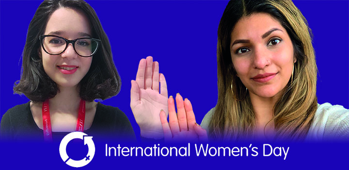 The International Women's Day banner, accompanied with images of UEA staff and students