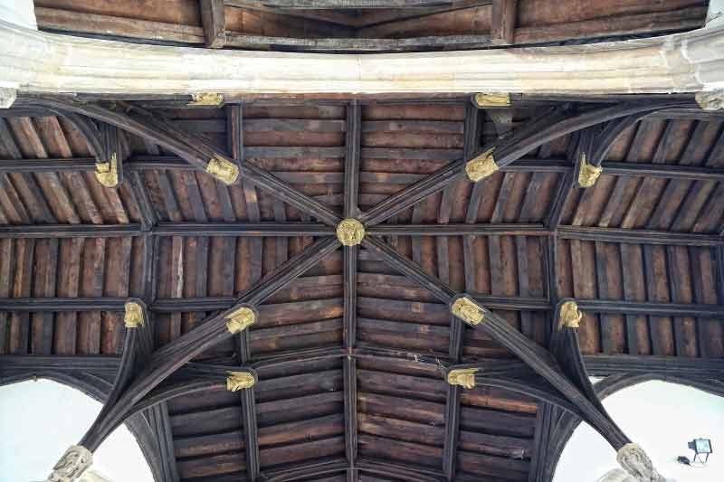 Roof at St Peter Hungate - a hipped transept roof with angel bosses