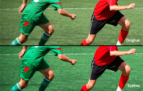 Image showing original picture of footballers versus how it looks with Eyeteq applied
