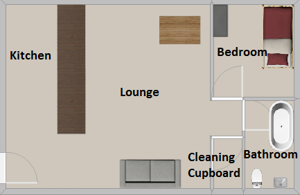 One Bedroom Norfolk/Suffolk Terrace Premier Flats Floorplan for room