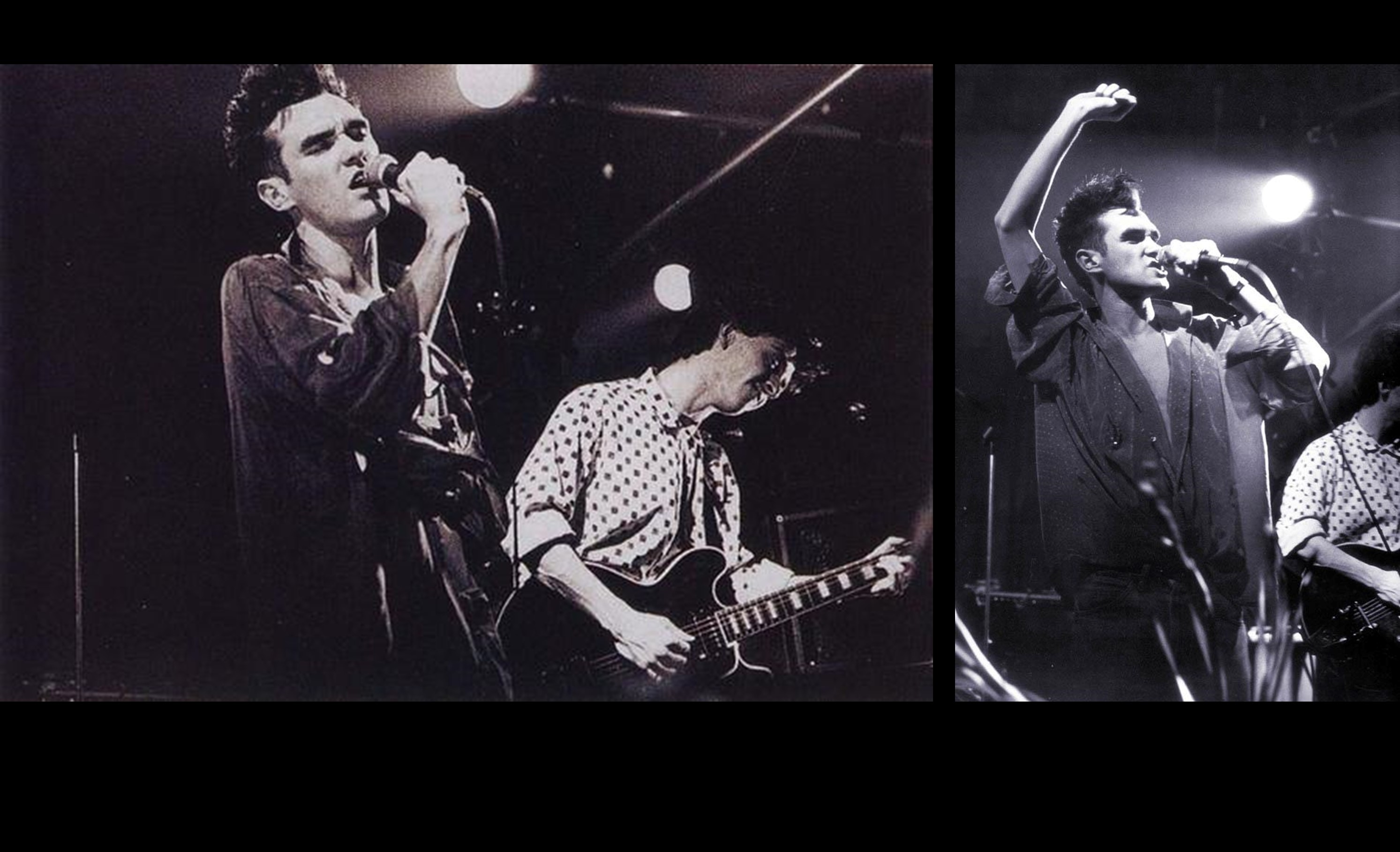Black and white photos of the smiths playing LCR