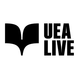 Black and white UEA Live logo