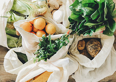 groceries in sustainable cotton bags